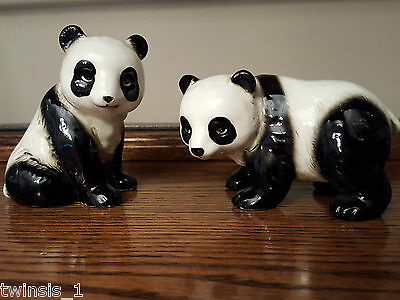 Vintage Set of Two Hand Painted Panda Figurines Made in Japan