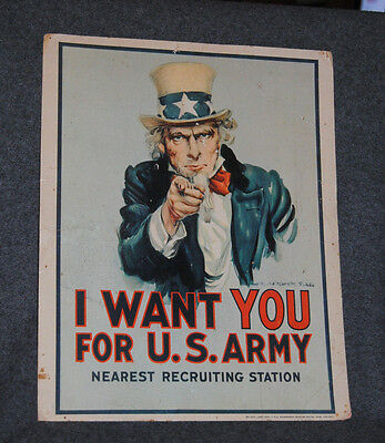 1968 Uncle Sam I Want You for U.S. Army Nearest Recruiting Station 14x11 Sign