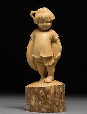 D019 - 22*9*8 CM Carved Boxwood Carving Figurine : Happy Little Girl