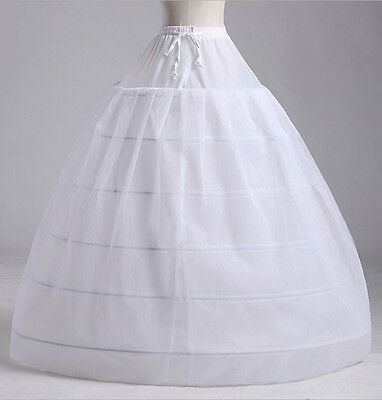 New 6 hoops 3 layers White Underskirt Petticoat One Size UK Size 4 to 18