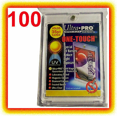 100 Ultra Pro ONE TOUCH MAGNETIC 35pt UV Card Holder Case 2 Piece Sports Trading