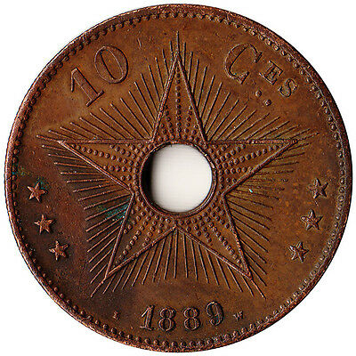 1889 Congo (Belgian) 10 Centimes Large Coin KM#4 Rare Mintage 100,000