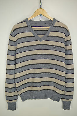 vtg 80s FRED PERRY ORIGINAL CASUALS MOD WOOL KNITTED JUMPER SWEATER size LARGE