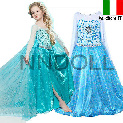 CARNEVALE COSTUME FROZEN dress bambina ELSA VESTITO BIMBA TRAVESTIMENTO new 868