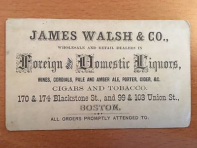 c.1861 LIQUOR BEER & WINE DEALER Engraved Trade Card BOSTON, MA Cigars Tobacco