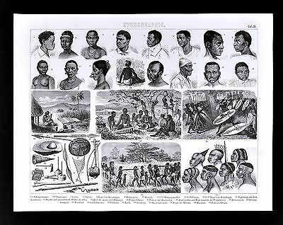 1874 Anthropology Print Africa Tribes Niger Congo Zulu Mozambique Music Slavery