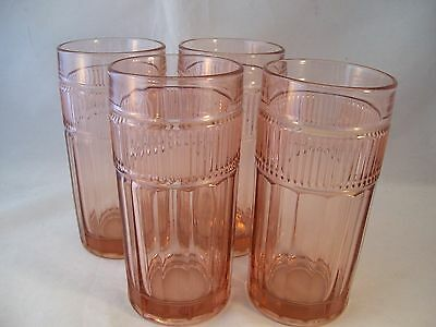 Anchor Hocking Annapolis Rosewater 4 Tumblers Iced Tea Heavy Glass Pink USA Ret