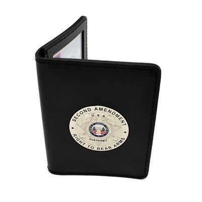 2nd Amendment Concealed Carry CCL CWP CCW Leather Document ID Holder Silver Coin