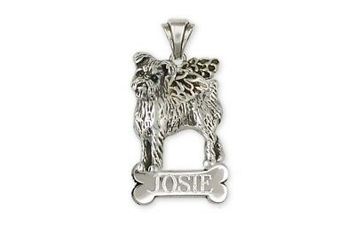 Brussels Griffon Angel Personalized Pendant Sterling Silver Dog Jewelry GR38-ANP