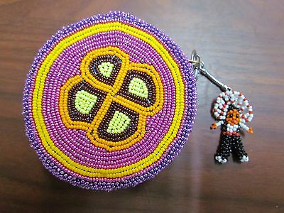 Native American- Fully Beaded Soft Moose Hide 4 In Round Change Purse W/keychain