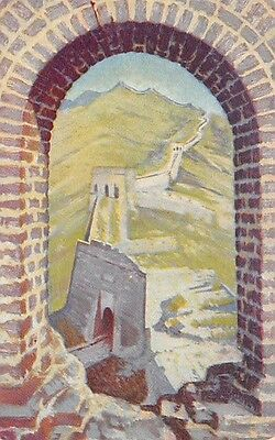 CHINA, GREAT WALL OVERVIEW, ARTIST IMAGE, DOLLAR STEAMSHIP CO PUB, c. 1920's