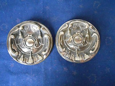 Pair of Antique french LARGE REPOUSSE BRASS  Plaques Finials Hook Covers