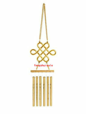 6 Rod Mystic Knot with Mantra Windchime Feng Shui  P1028 Gold Christmas Gift
