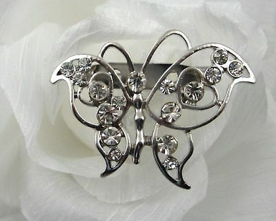 Butterfly With Heart Wing Rhinestone Crystals Brooch