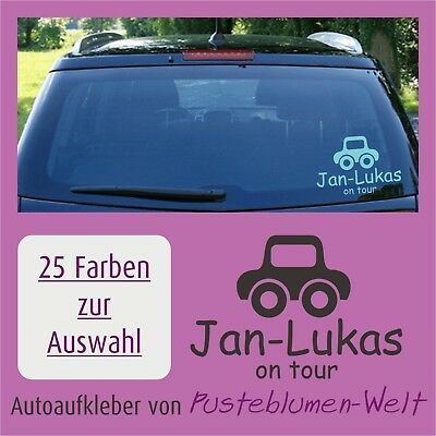 Autoaufkleber A16 Baby Kind Junge on Tour + Name 20x13cm
