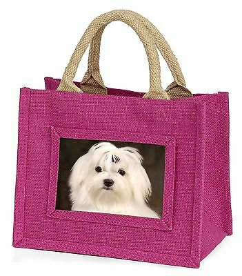 Maltese Dog Little Girls Small Pink Shopping Bag Christmas Gift, AD-M1BMP