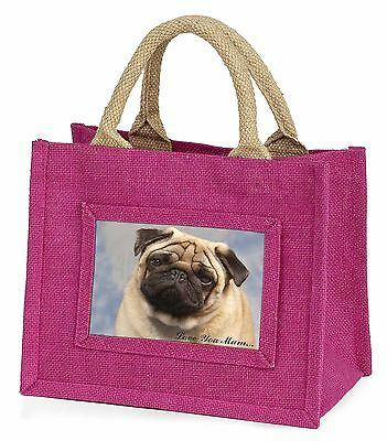 Pug Dog 'Love You Mum' Little Girls Small Pink Shopping Bag Christm, AD-P1lymBMP