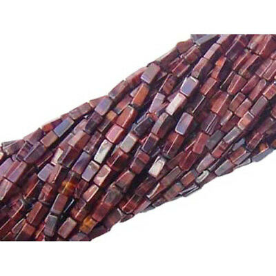 30+ Red/Brown Tiger Eye Approx 4 x 6mm-6 x 10mm Handcut Rectangle Beads DW1725