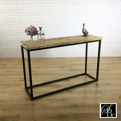 Industrial Console Hall Table Wood Vintage Metal Pine Sideboard Rustic Reclaimed