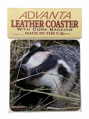 Badger in Straw Single Leather Photo Coaster Animal Breed Gift, ABA-1SC