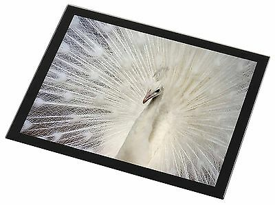 White Feathers Peacock Black Rim Glass Placemat Animal Table Gift, AB-PE19GP
