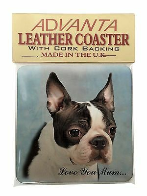 Boston Terrier Dog 'Love You Mum' Single Leather Photo Coaster Anim, AD-BT8lymSC