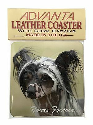 "Chinese Crested Dog ""Yours Forever..."" Single Leather Photo Coaster , AD-CHC2ySC"