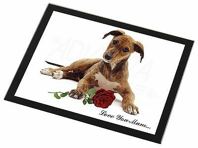 Lurcher with Rose 'Love You Mum' Black Rim Glass Placemat Animal T, AD-LU2RlymGP