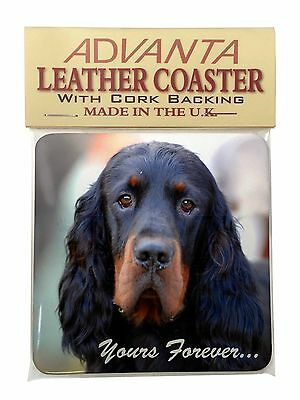 Gordon Setter 'Yours Forever' Single Leather Photo Coaster Animal Br, AD-GOR2ySC