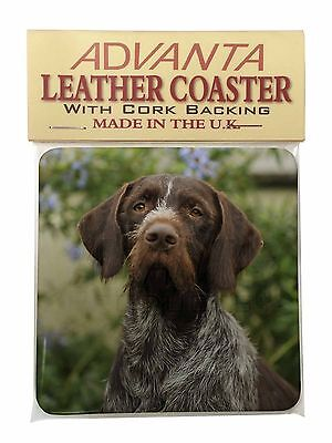 German Wirehaired Pointer Single Leather Photo Coaster Animal Breed G, AD-GWP1SC