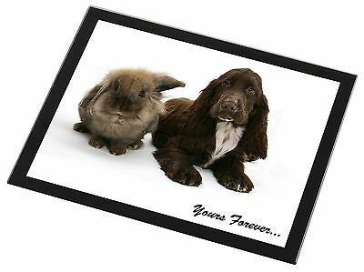 Animals 'Yours Forever' Sentiment Black Rim Glass Placemat Animal Tab, AD-SC2yGP