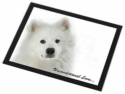 Samoyed Dog with Love Black Rim Glass Placemat Animal Table Gift, AD-SO73uGP