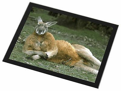 Cheeky Kangaroo Black Rim Glass Placemat Animal Table Gift, AK-1GP