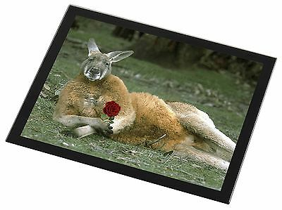 Kangaroo with Red Rose Black Rim Glass Placemat Animal Table Gift, AK-1RGP