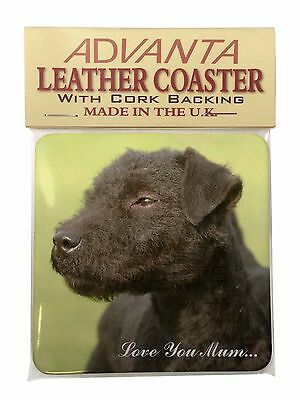 Patterdale Terrier Dogs 'Love You Mum' Single Leather Photo Coaster, AD-PT1lymSC