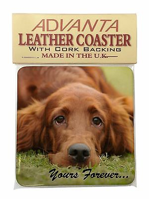 Red Setter Dog 'Yours Forever' Single Leather Photo Coaster Animal Br, AD-RS2ySC