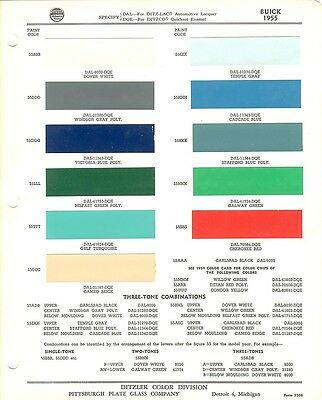 1955 Buick Century Special Super Skylark Roadmaster Wagons Paint Chips (Ppg)