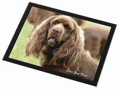 Sussex Spaniel 'Love You Dad' Black Rim Glass Placemat Animal Table G, DAD-122GP
