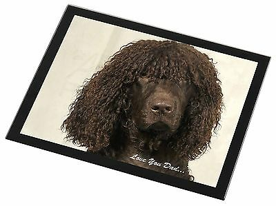 Irish Water Spaniel 'Love You Dad' Black Rim Glass Placemat Animal Tab, DAD-59GP