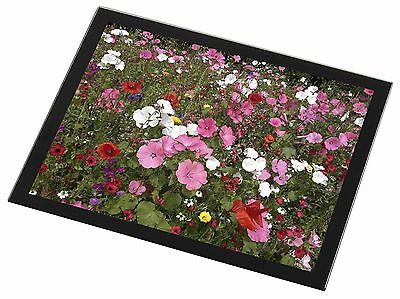 Poppies and Wild Flowers Black Rim Glass Placemat Animal Table Gift, FL-10GP