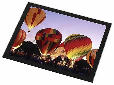 Hot Air Balloons at Night Black Rim Glass Placemat Animal Table Gift, SPO-B2GP