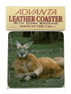 Cheeky Kangaroo Single Leather Photo Coaster Animal Breed Gift, AK-1SC