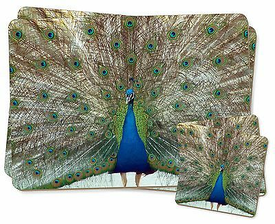 Rainbow Feathers Peacock Twin 2x Placemats+2x Coasters Set in Gift Bo, AB-PE13PC