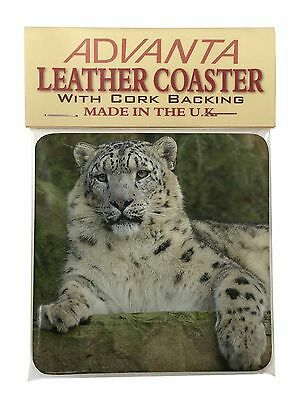 Beautiful Snow Leopard Single Leather Photo Coaster Animal Breed Gift, AT-47SC