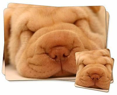 Cute Shar-Pei Puppy Dog Twin 2x Placemats+2x Coasters Set in Gift Box, AD-90PC
