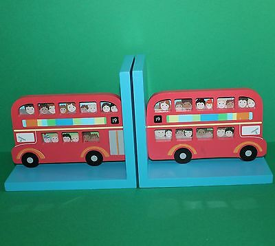 Sass & Belle Wooden Boys Bedroom Bus Bookends