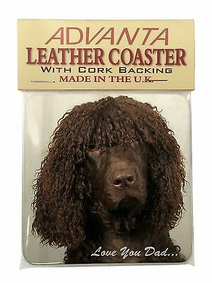 Irish Water Spaniel 'Love You Dad' Single Leather Photo Coaster Animal, DAD-59SC