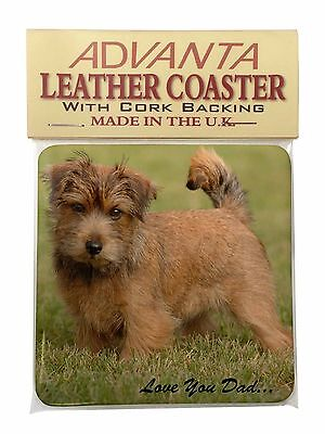 Norwich/Norfolk Terrier 'Love You Dad' Single Leather Photo Coaster An, DAD-80SC