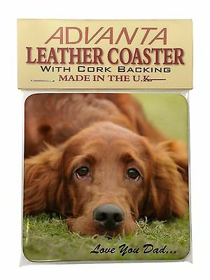 Red Setter Dpg 'Love You Dad' Single Leather Photo Coaster Animal Bree, DAD-93SC