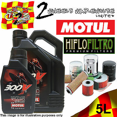 5L Litre Motul 300V 10W40 Factory Line 4T Oil+And Hf138 Motorcycle Filter Change